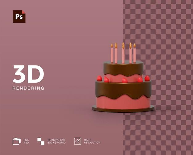 3d verjaardagstaart illustratie weergave