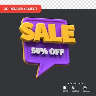 3d-verkoop promo 50 procent korting geïsoleerd. handig voor e-commerce en online winkelen illustratie