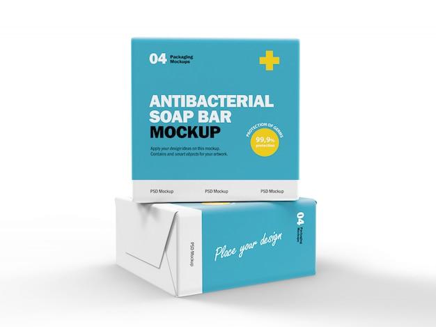 3d-verpakkingsontwerp mockup van antibacteriële zeepdozen