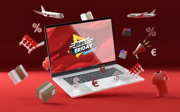 3d verschillende verkoop objecten mock-up rode achtergrond