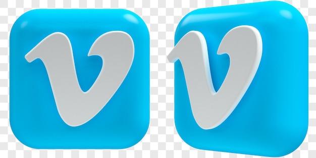 3d vimeo-pictogrammen in twee hoeken vooraan en driekwart geïsoleerde illustraties