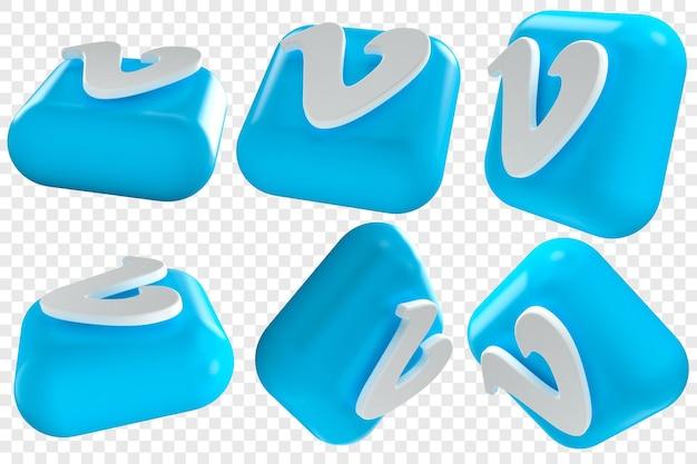 3d vimeo-pictogrammen in zes verschillende hoeken geïsoleerde illustraties