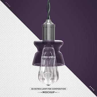 3d vintage retro lamp met violette afwerking