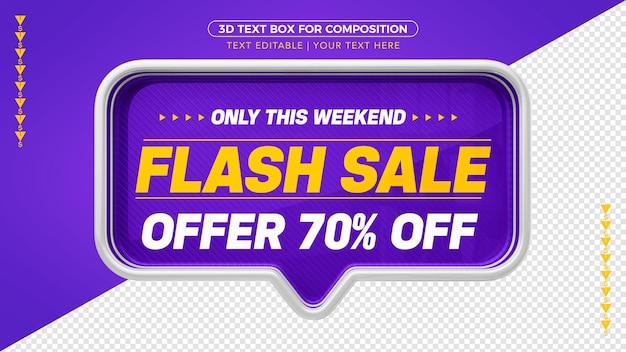 3d violet flash-verkoopbanner met 70% korting