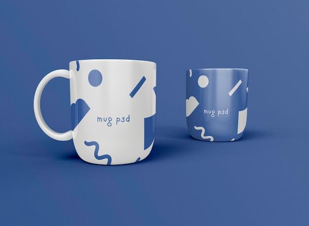 3d vista frontal de tazas de café
