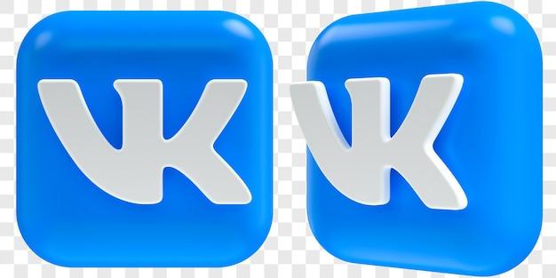 3d vkontakte-pictogrammen in twee hoeken aan de voorkant en driekwart geïsoleerde illustraties