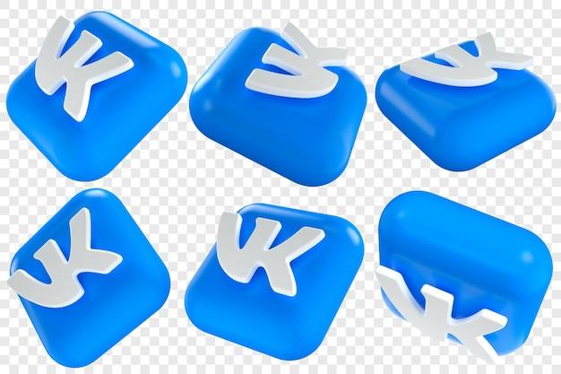 3d vkontakte-pictogrammen in zes verschillende hoeken geïsoleerde illustraties