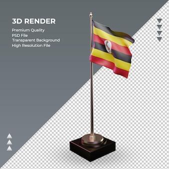 3d-vlag oeganda die de juiste weergave weergeeft