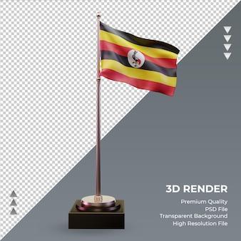 3d-vlag oeganda rendering vooraanzicht