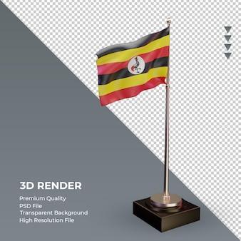 3d-vlag oeganda weergave linkeraanzicht