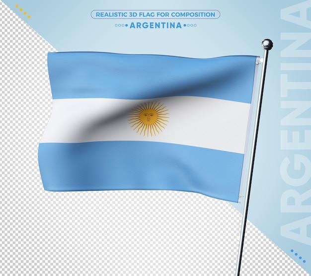 3d-vlag van argentinië met realistische textuur