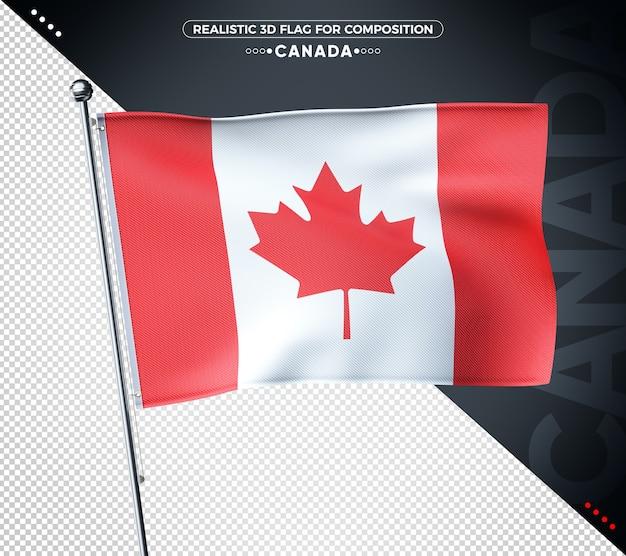 3d-vlag van canada met realistische textuur