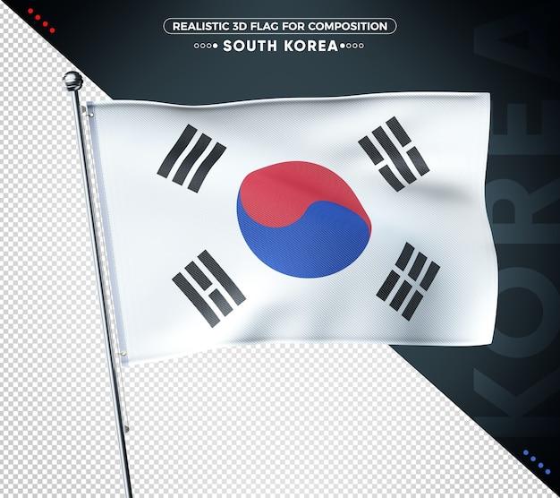 3d-vlag van zuid-korea met realistische textuur