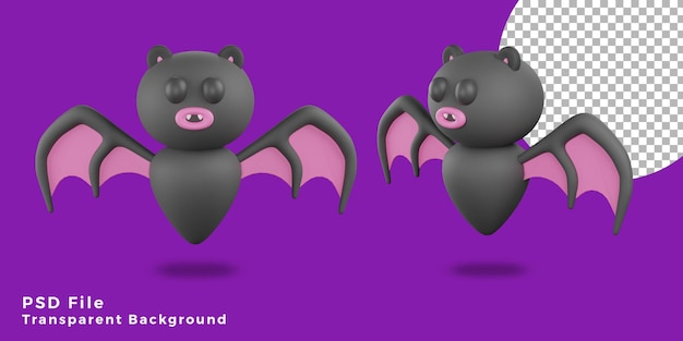 3d vleermuizen eng halloween activa pictogram ontwerp verschillende hoek bundel illustratie hoge kwaliteit
