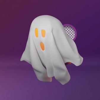 3d vliegende geest happy halloween-illustratie
