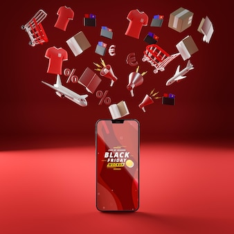 3d vliegende objecten en mobiele telefoon mock-up rode achtergrond