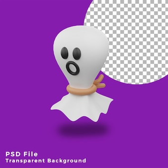 3d vliegende witte doek spook halloween activa pictogram ontwerp illustratie hoge kwaliteit