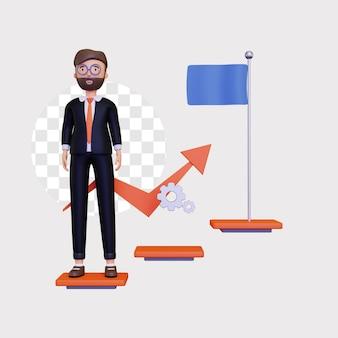3d vooruitgangsillustratie met een mannelijk zakenmankarakter en ladder van succes