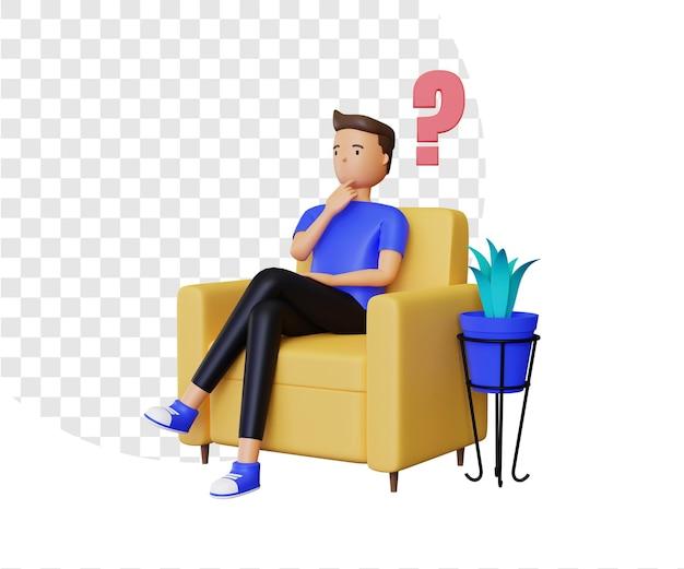 3d-vraag met zittend mannelijk personage