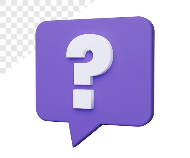 3d vraagteken of hulp die geïsoleerd teruggeven