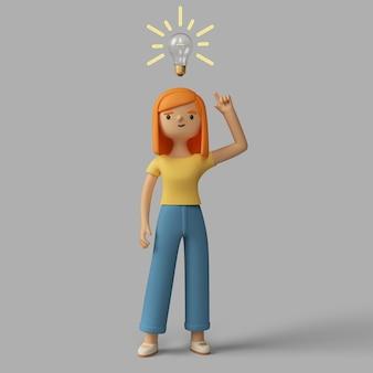 3d vrouwelijk karakter dat een idee heeft