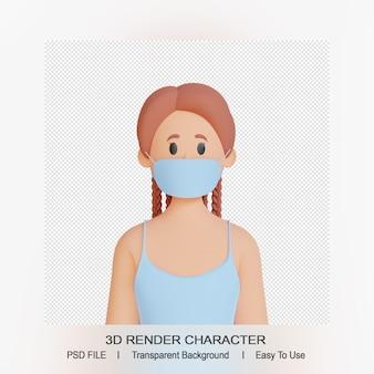 3d vrouwelijk karakter dat gezichtsmasker draagt
