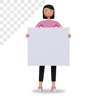 3d vrouwelijk karakter dat leeg bord houdt Premium Psd