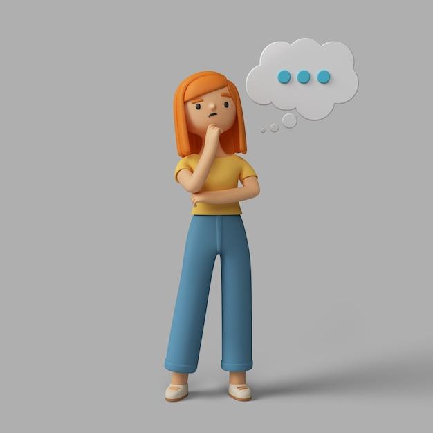 3d vrouwelijk karakter dat over iets denkt