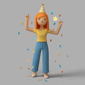3d vrouwelijk karakter vieren met feestmuts en confetti