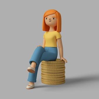 3d vrouwelijk karakter zittend op een stapel munten