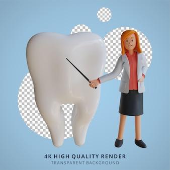 3d vrouwelijke arts die de delen van de illustratie van het tandenkarakter uitlegt