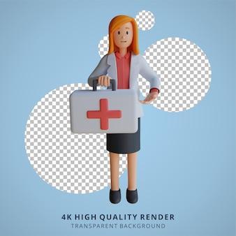 3d vrouwelijke arts die een karakterillustratie van een medicijnzak draagt