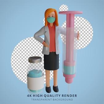 3d vrouwelijke arts die een masker draagt dat een illustratie van het karakterontwerp van de vaccininjectie houdt