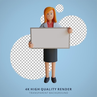 3d vrouwelijke arts met een leeg wit bord karakter illustratie