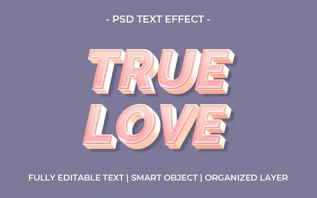 3d ware liefde tekst effect sjabloon