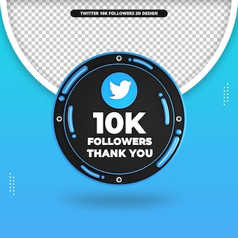3d-weergave van 10.000 volgers op twitter-ontwerp