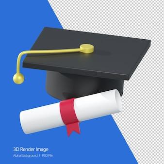 3d-weergave van afgestudeerde hoed en certificaat papier pictogram geïsoleerd op wit.