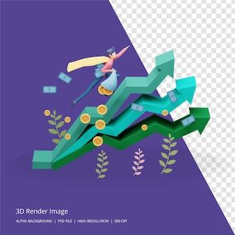 3d-weergave van bedrijfsinvesteringen concept