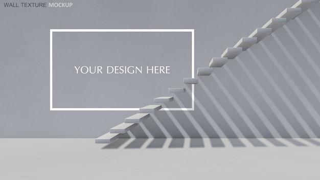 3d-weergave van betonnen trap met schaduw op de muur Premium Psd