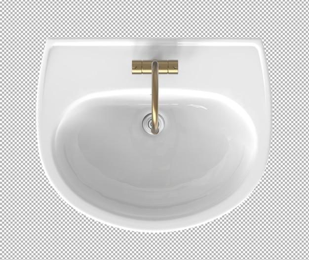 3d-weergave van bovenaanzicht van gootsteen geïsoleerd