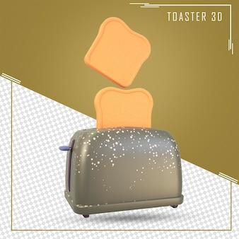 3d-weergave van cartoon broodrooster