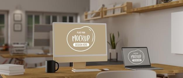 3d-weergave van computer en laptop mockup in gezellige kantoorruimte