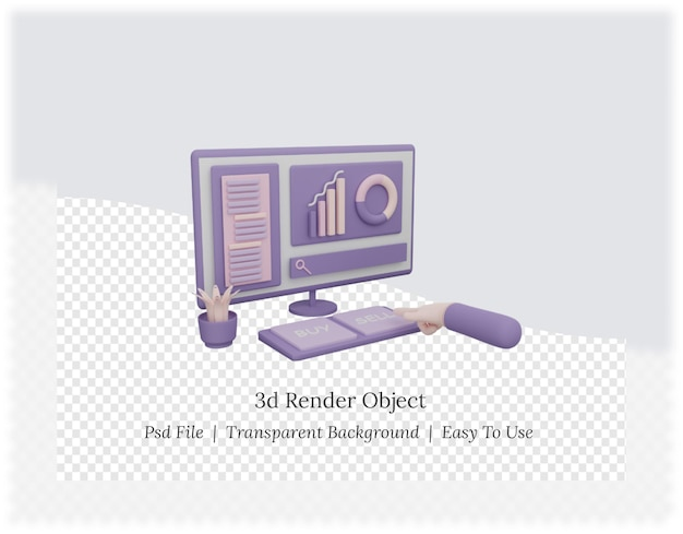 3d-weergave van de computer met de hand kiezen voor kopen of verkopen