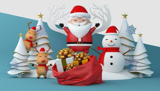 3d-weergave van de kerstman, geschenkdoos en kerstboom