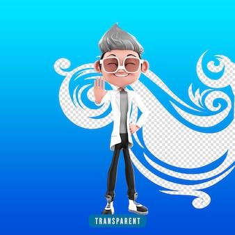 3d-weergave van dokter karakter pose stop