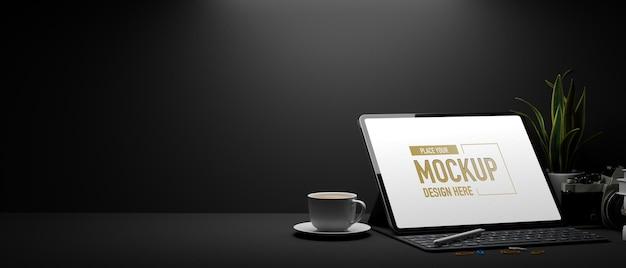 3d-weergave van donkere werkruimte met mockup-laptop