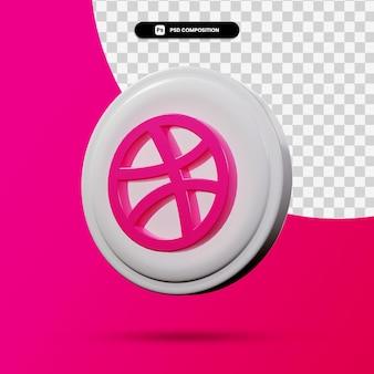 3d-weergave van dribbel applicatie-logo geïsoleerd