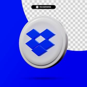 3d-weergave van dropbox-toepassingslogo geïsoleerd