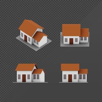 3d-weergave van een lowpoly minimalistisch huis vanuit verschillende kijkhoeken