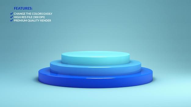 3d-weergave van een minimalistisch blauw podium op een blauwe achtergrond voor productpresentatie